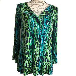 DVF Diane Von Furstenberg Leopard Print Silk Top